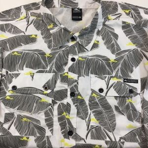 5x fly society Hawaiian tropical shirt black white